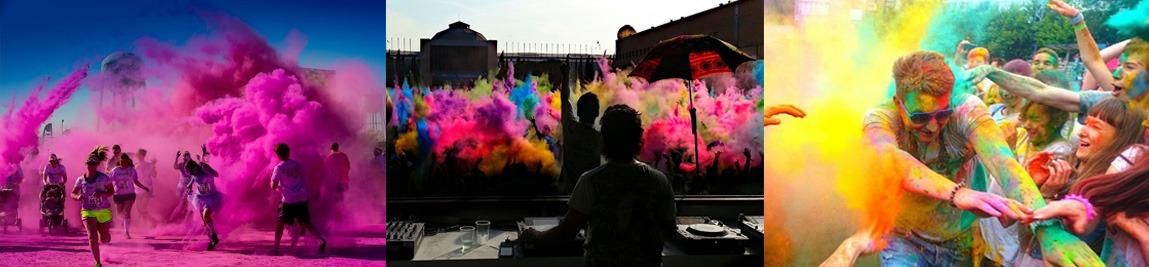 polvos holi - como se organiza una carrera holi , fiesta holi, o batalla de color